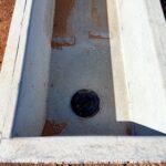 concrete stock troughs exit hole