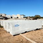 Concrete road barrier in concrete warehouse