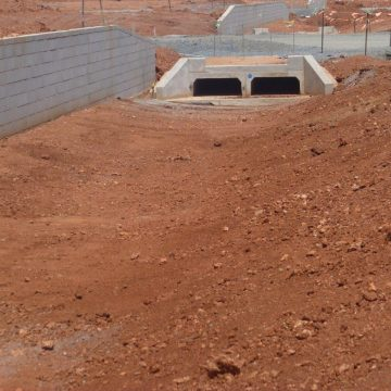 concrete box culverts used to pass drainage under road