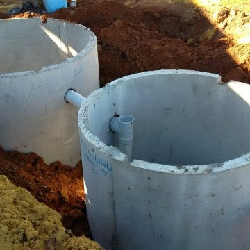 Two septic tank installed with leach drains