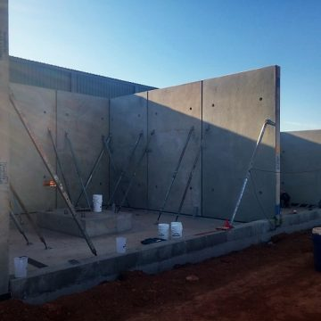 concrete tilt wall panels used to construct shed