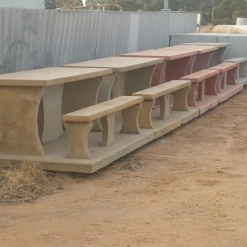 installed concrete outdoor seating