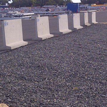 t blocks on concrete warehouse