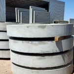 concrete stormwater pit lids stacked