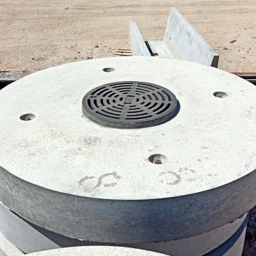 top view of concrete stromewater lids