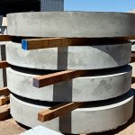 precast concrete stormwater lids stacked