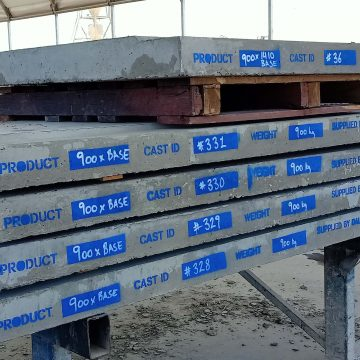 concrete box culvert base with product label