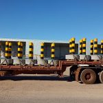 concrete traffic bollards on the way to delivery