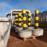 concrete traffic bollards ready for installation